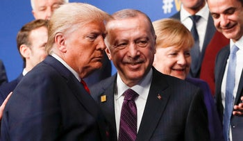 U.S. President Donald Trump and Turkish President Recep Tayyip Erdogan leave the stage during the NATO summit in Watford, Britain, December 4, 2019.
