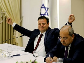 Joint List lawmakers Ahmad Tibi (right) and Ayman Odeh (left), at President Reuven Rivlin's residence in Jerusalem September 22, 2019.