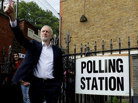 Jeremy Corbyn leader of Britain's opposition Labour Party gestures after voting in the European Elections in London, May 23, 2019.