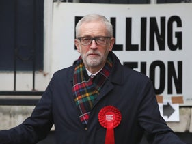 Corbyn, gestures after voting in the general election,London, December 12, 2019.