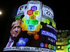 BBC Television Centre is illuminated with the results forecast for Britain's general election in London, Britain, December 12, 2019.