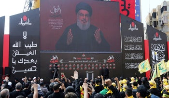 Hezbollah leader Sayyed Hassan Nasrallah addresses supporters during a religious procession, Beirut, Lebanon, September 10, 2019