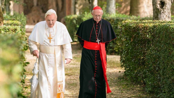 """Anthony Hopkins and Jonathan Pryce in Netflix's """"The Two Popes."""""""