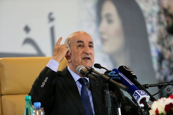 Newly elected president Abdelmadjid Tebboune talks to the press during a news conference, in Algiers, Algeria December 13, 2019.