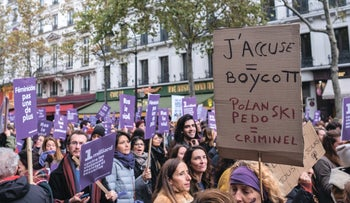 "Protesters marching in Paris following the release of ""An Officer and a Spy"" in France, November 23, 2019."