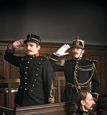 "Louis Garrel, left, as Alfred Dreyfus in Roman Polanski's ""An Officer and a Spy."""
