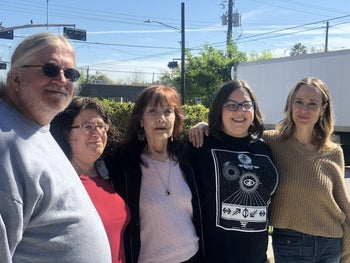 From left to right: David Smith, Ruth Kravetz, Beth Moore, Frances Fisher and Elizabeth Haberer. The group are members of the Houston chapter of the Never Again Action and participated in protests against the Trump administration's treatment of immigrants.