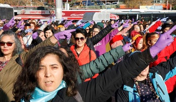 Women perform the Chilean anti-rape song during a demonstration against gender violence in Istanbul, Turkey December 15, 2019