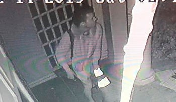 A surveillance video shows a suspect in the vandalism of the Nessah Synagogue, December 14, 2019.
