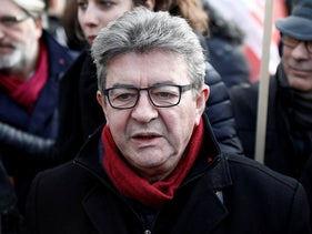 Jean-Luc Melenchon, leader of the far-left opposition France Insoumise (France Unbowed) political party, talks to journalists during a demonstration in France, December 10, 2019.