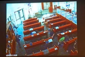 Surveillance video at the Chabad of Poway shows people diving for cover during a deadly attack on April 27, 2019.