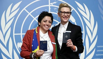 UNHCR goodwill ambassador and actress Cate Blanchett and formerly stateless refugee Maha Mamo at the UNHCR's Executive Committee meeting, at the United Nations in Geneva, October 7, 2019.