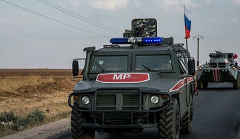 Russian forces patrol near the city of Qamishli, north Syria, October 24, 2019.