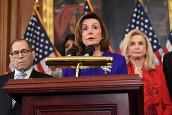 House Speaker Nancy Pelosi (D-CA) speaks next to House Judiciary Chairman Jerry Nadler(L) and Carolyn Maloney(R), at a press conference in Washington, December 10, 2019.
