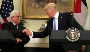 Donald Trump shakes hands with Palestinian President Mahmoud Abbas at the White House, May 3, 2017.