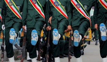 Iranian Officers of Revolutionary Guard, with Israel flag drawn on their boots, during a graduation ceremony for student officers and guard trainees in Tehran, Iran, September 13, 2019.