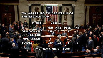 The vote total showing the passage of the second article of impeachment, obstruction of Congress, against President Donald Trump by the House of Representatives at the Capitol in Washington, Wednesday, Dec. 18, 2019.