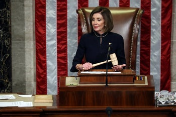 Speaker of the House Nancy Pelosi (D-CA) presides over Resolution 755 as the House of Representatives votes on the second article of impeachment of U.S. President Donald Trump at in the House Chamber at the U.S. Capitol Building on December 18, 2019