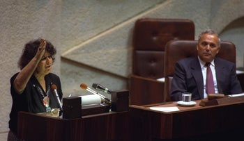 Geulah Cohen at the Knesset in 1990.
