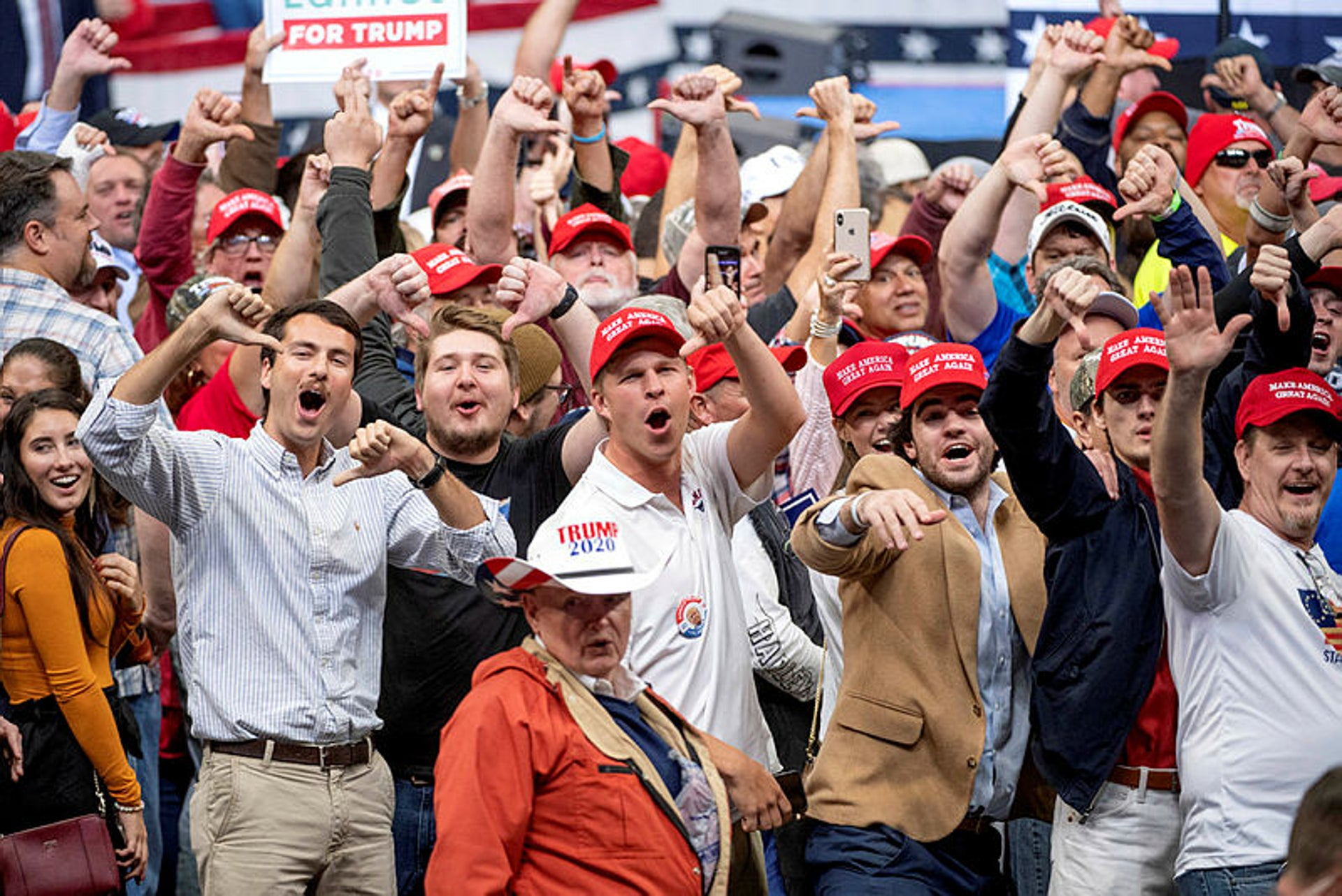 Supporters of President Donald Trump heckle the media during a Dallas campaign rally, October 17, 2019. Manovich doesn't believe that technology necessarily plays a role in the political crisis the world has been in since the rise of Trump.