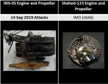 A comparison of engines involved in the attack on an Aramco oil facility in Saudi Arabia and from the Shahed-123, displayed in the Iranian Materiel Display.