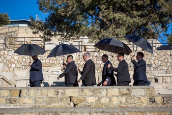 Prime Minister Benjamin Netanyahu attends the funeral of Geula Cohen on the Mount of Olives in Jerusalem, on December 19, 2019.
