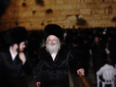 Rabbi Avraham Mordechai Alter at the Western Wall in Jerusalem.