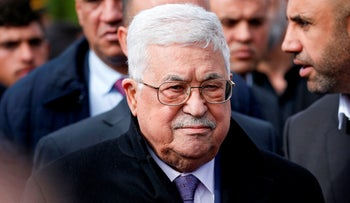 Palestinian president Mahmoud Abbas attends the funeral of former senior Fatah official Ahmed Abdel Rahman in the West Bank city of Ramallah on December 4, 2019.
