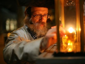 An exhibit of 11 photographs of Hasidim celebrating Hanukkah, all the work of Polish photographer Agnieszka Traczewska, will be on display at the 14th St. Y in Manhattan through late January.