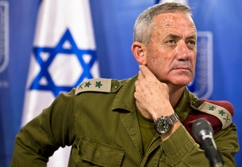 Israeli military chief Lieutenant-General Benny Gantz attends a news conference in Tel Aviv, Israel July 28, 2014.