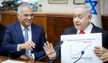 Benjamin Netanyahu and Moshe Kahlon at a government meeting in Jerusalem, December 15, 2019.