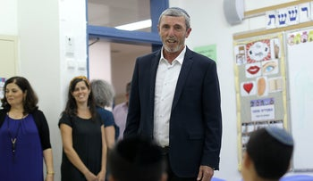 Education Minister Rafi Peretz visits students in Modi'in on the first day of the school year, August 29, 2019.