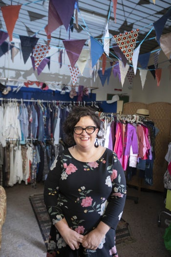 Galit Kedem-Cohen at the used clothing boutique run by Kehillat Kodesh V'Hol in Holon.