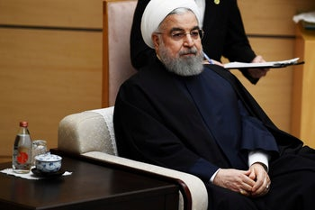 Iranian President Hassan Rohani during a state visit to Japan, December 20, 2019.