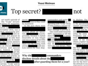 A mock-up of a redacted article by Yossi Melman.