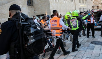 Paramedics at the scene of an attack in Jerusalem, August 2019.