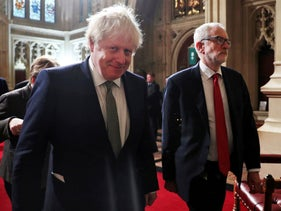 Prime Minister Boris Johnson and Labour Party leader Corbyn.