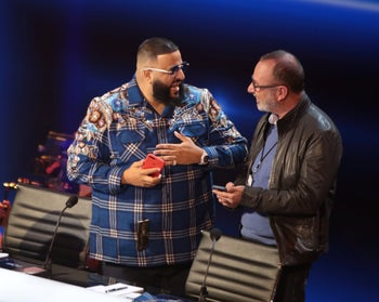 """Armoza with American rapper DJ Khaled on the set of the American adaptation of """"The Four"""""""