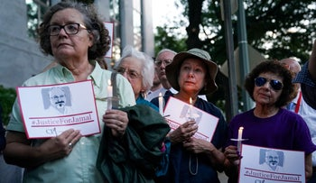 The Committee to Protect Journalists and other press freedom activists hold a candlelight vigil in front of the Saudi Embassy in Washington D.C. to mark the anniversary of the killing of journalist Jamal Khashoggi, October 2, 2019.