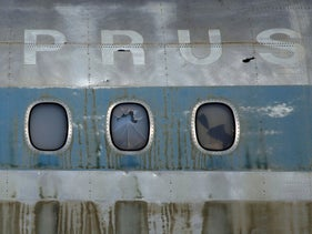 Aמ abandoned Cyprus airways aircraft at the abandoned Nicosia airport
