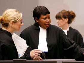 Prosecutor Fatou Bensouda, center, in the courtroom of the International Criminal Court (ICC) in The Hague, Netherlands, August 28, 2018.