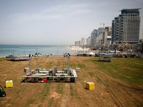 The Eurovision Village while being constructed in Tel Aviv, May 6, 2019.