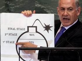 Benjamin Netanyahu shows an illustration as he describes his concerns over Iran's nuclear ambitions during his address to the 67th session of the United Nations General Assembly at U.N. headquarters.