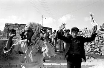 Civilian Arab prisoners are seen after the Israeli army entered in the Old City during the Six Day War in June 1967 in Jerusalem, Israel.