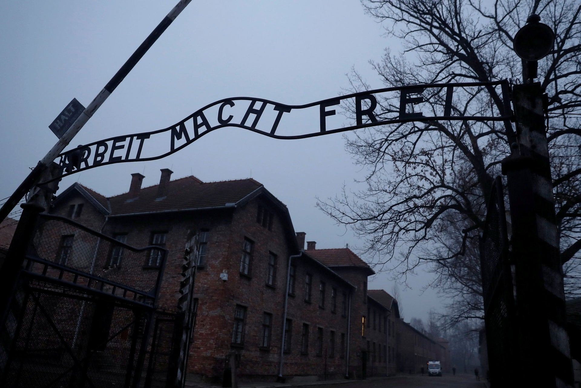 """The """"Arbeit Macht Frei"""" gate at the former Nazi German concentration and extermination camp Auschwitz."""