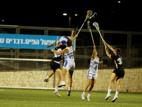 File photo: Israel and Germany vying for control in their European Lacrosse Championships match in Jerusalem, July 18, 2019.
