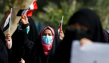 Iraqi female students taking part in the anti-government protests in Najaf, Iraq, December 26, 2019.