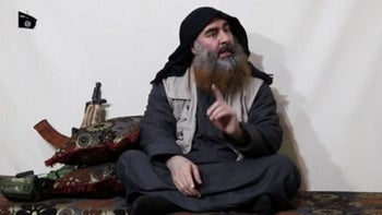 Islamic State leader Abu Bakr al-Baghdadi is seen in a video released by the group's Al Furqan network on April 29, 2019.