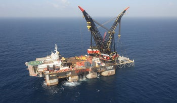 The foundation platform for the Leviathan natural gas field in the Mediterranean Sea, about 130 kilometres (81 miles) west of the coast of Haifa, January 31, 2019.
