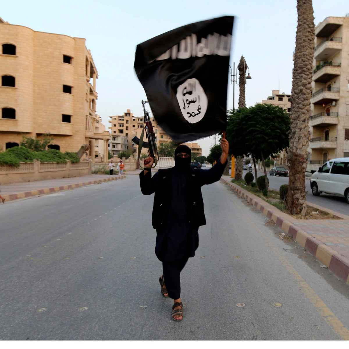 An Islamic State member waves the group's flag in Raqqa, Syria, June 29, 2014.